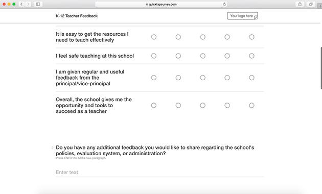 Teacher Self Assessment Feedback Survey QuickTapSurvey