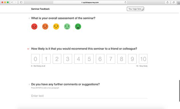 Seminar Feedback Template QuickTapSurvey