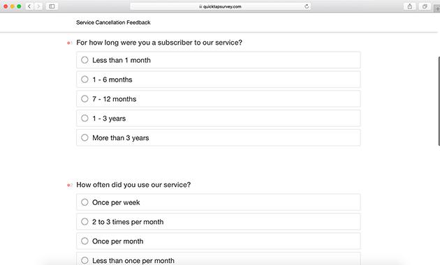 Cancellation Survey Form Template QuickTapSurvey
