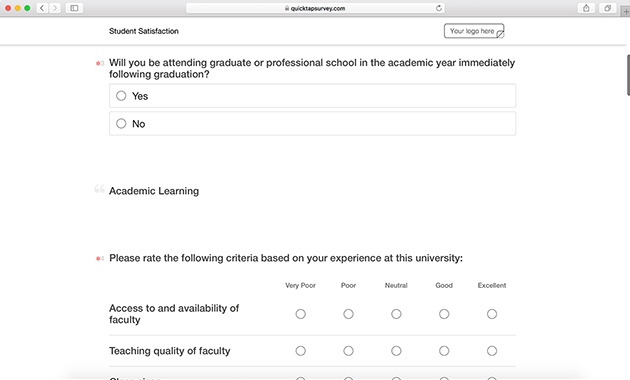 Student Satisfaction Survey Template QuickTapSurvey
