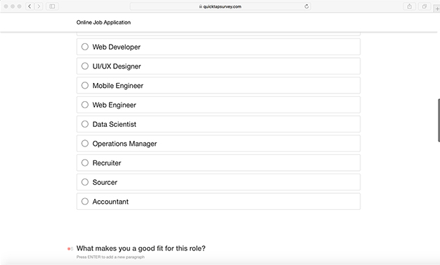 Job Application Survey Template for Online Applications QuickTapSurvey