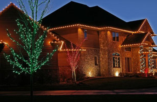 Home decorated for the holidays with lights