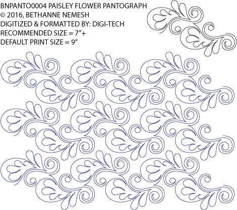"Paisley Flower Paper Pantograph, 9"" tall. Designed by Bethanne Nemesh. Available at QuiltedJoy.com"