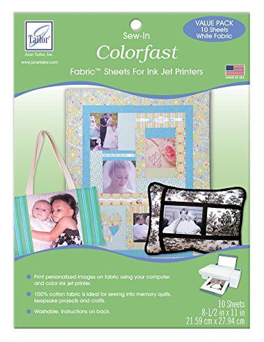 June Tailor Washable Colorfast Printable Fabric Sheets