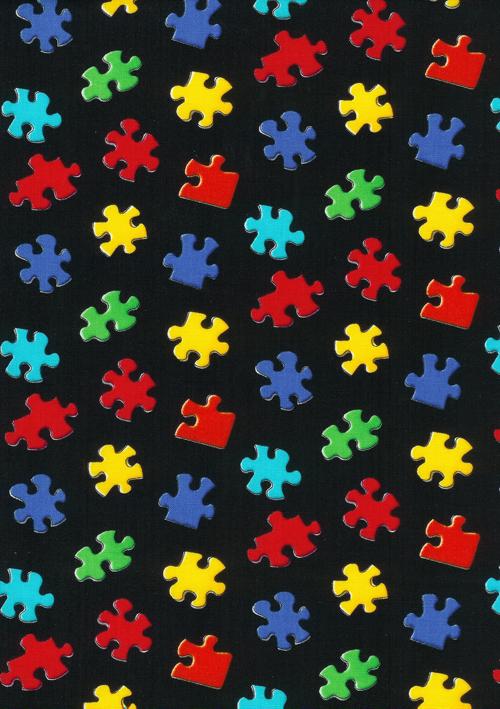 Niagara Falls Wallpaper Autism Awareness Puzzle Pieces Fabric