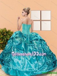 2015 Classical Sweetheart Teal Sweet 16 Dresses with ...