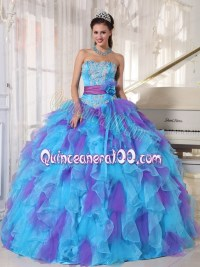 2014 Baby Blue and Purple Strapless Appliques Quinceanera ...