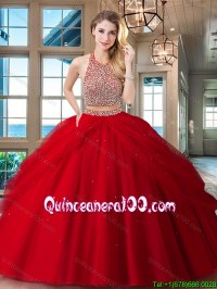 Unique Big Puffy Two Piece Backless Red Quinceanera Dress ...
