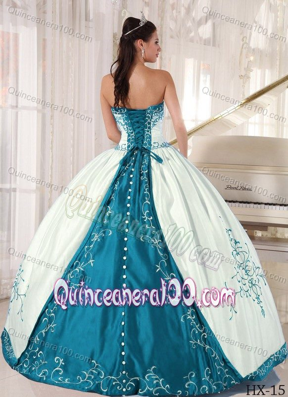 Affordable White Strapless Sweet 16 Dress with Teal