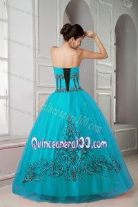 Teal Ball Gown Tulle Sweet Sixteen Dresses with Appliques ...