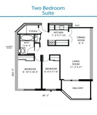 Floor Plan of the Two Bedroom Suite   Quinte Living Centre