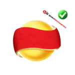Yellow Circle With Red Banner Logo