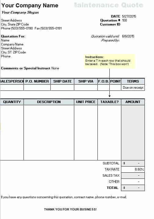 Maintenance Quote Template Free Quotation Templates - Estimate - customer quote template