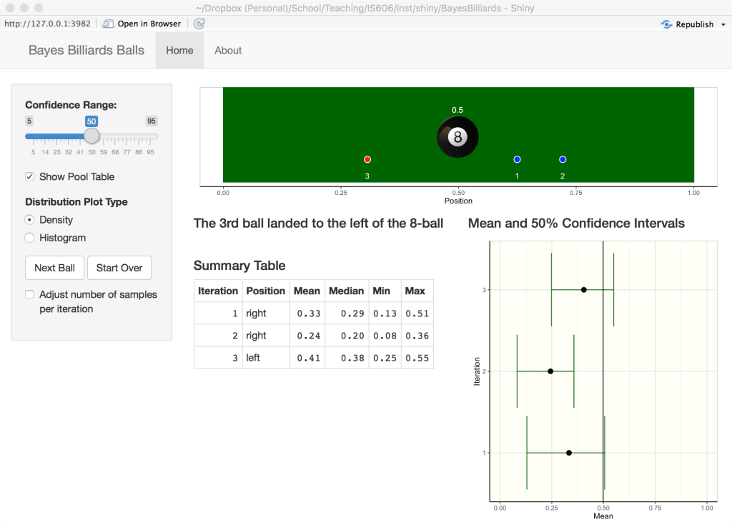 Shiny App for Bayes Billiards Problem | R-bloggers