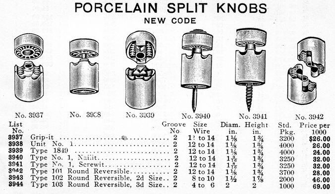 knobs split knobs and other house wiring knob insulators catalogs