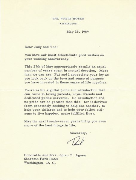 Richard Nixon Signed Letter to Agnew The Raab Collection