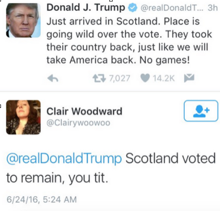Trump Tweets about Scotland