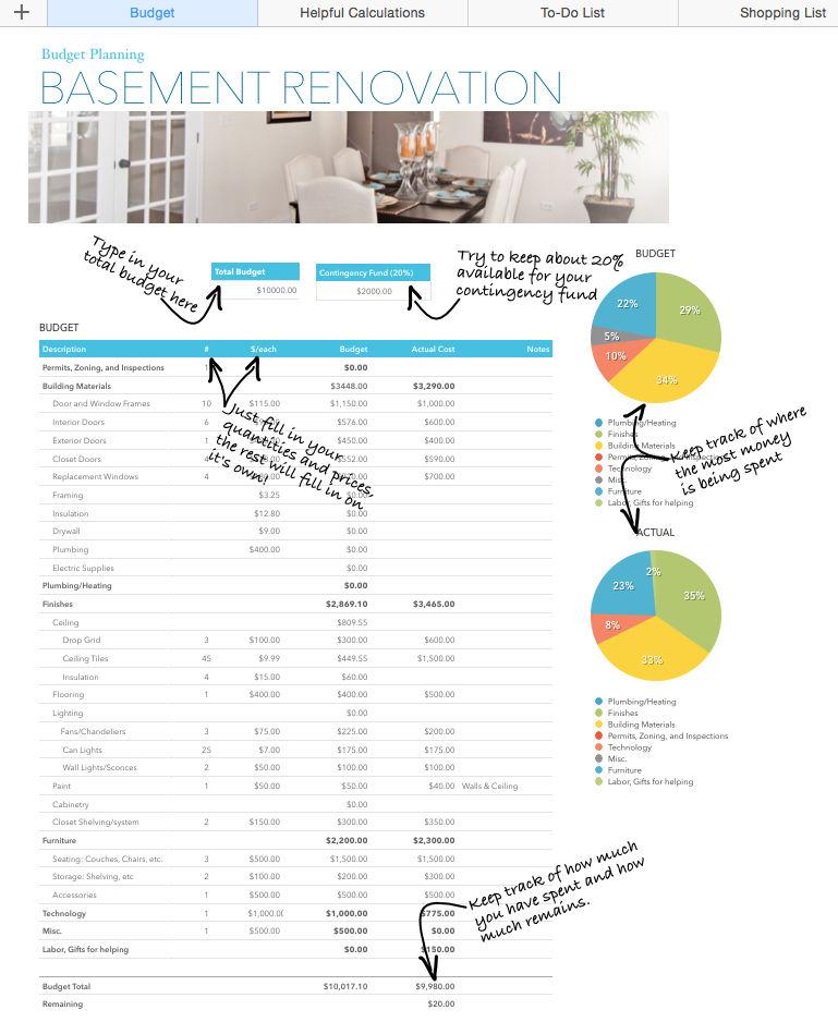 Basement Renovation Budget\u2014Excel Template - Rachel Rossi - remodel budget template