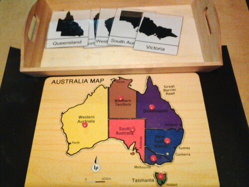 Australia map puzzle and states nomenclature cards