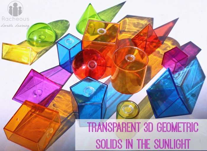 transparent 3d geometric solids sun light