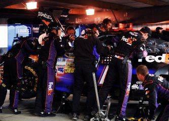 2012 Martinsville2 Crew Works On Denny Hamlin Car In Garage