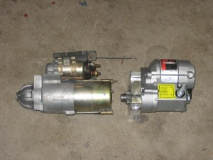 New starter motor on the right. Another part for Craig's List!