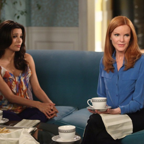"DESPERATE HOUSEWIVES - ""Lost My Power"" - With Mike gone, Susan attempts to build a car for MJ's father-and-son school soapbox derby; Bree's attorney, Trip (Scott Bakula), learns of her previous drunken sexual spree and needs her to come clean about it in order to help strengthen her case; Lynette tries to cause some negative friction between Tom and his girlfriend, Jane, by flirting with his boss and getting him to pile more work on her estranged husband; Gaby is furious with Carlos when he tries to poach one of her rich, personal shopper clients (Doris Roberts) and talk her into helping with his newly formed charity organization; and Renee discovers that Ben is keeping a secret from her about his involvement with Bree -- and the body found at his work site -- on ""Desperate Housewives,"" SUNDAY, APRIL 29 (9:01-10:01 p.m., ET) on the ABC Television Network. (ABC/DANNY FELD) EVA LONGORIA, MARCIA CROSS"