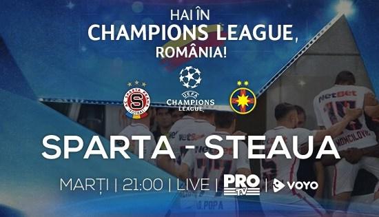 Meciul Sparta Praga și Steaua București este transmis LIVE de Pro TV!