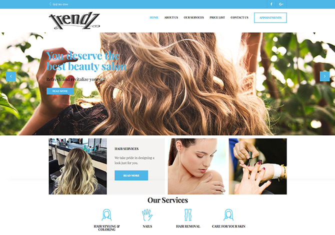 Trendz Salon Website Radiant Web Design WordPress Websites