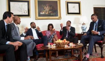 michelle obama miami heat players Want to See Michelle Obama Dunk on LeBron? Check Out Her Lets Move PSA