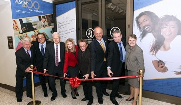 Pictured (l-r) at the ribbon-cutting of the ASCAP 100th exhibit at the Library of Congress are ASCAP Board members James Kendrick and Leeds Levy, Librarian of Congress James H. Billington, Rep. Marsha Blackburn (R-TN), ASCAP President Paul Williams, Rep. Ted Deutch (D-FL), ASCAP Board Vice-Chair Jimmy Webb and Chief of the Library of Congress Music Division Sue Vita