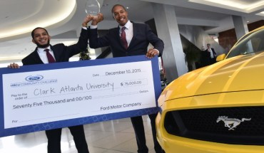 Bradley Gilbeaux and Damon Willis, MBA candiates at Clark Atlanta University, announced winning team of 2015 Ford HBCU Community Challenge (PRNewsFoto/Ford Motor Company)