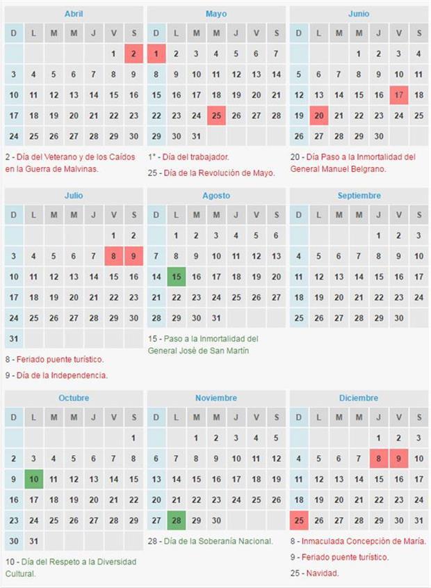 Así queda el calendario de feriados con el fin de semana extra largo