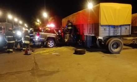 Fuerte accidente en el cruce de Rutas 13 y 66 en Carlos Pellegrini
