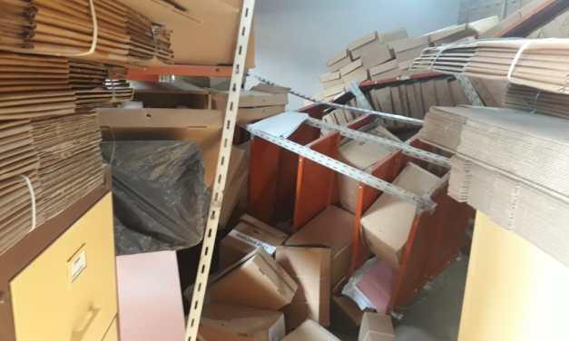 Derrumbe de archivos en la Municipalidad de Las Rosas