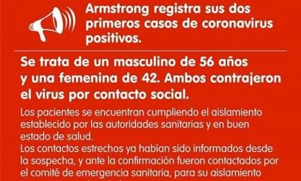 Dos casos de coronavirus en Armstrong