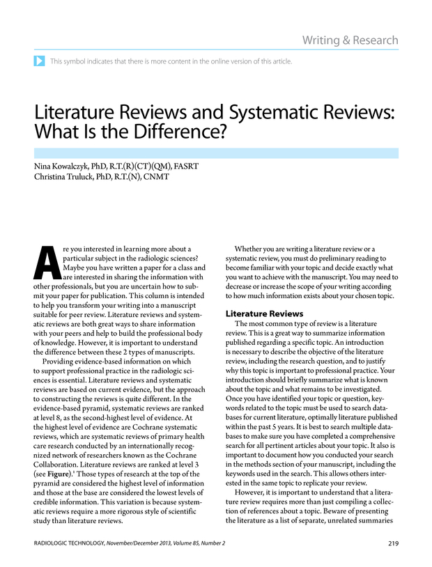 Literature Reviews and Systematic Reviews What Is the Difference? - literature review