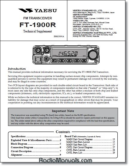 Yaesu Instruction Manuals and Service Manuals