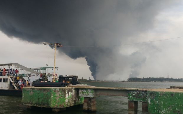 The explosion created a massive plume of smoke.