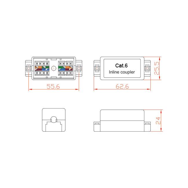 PDCAT6J CAT6 INLINE COUPLER PUNCH DOWN CAT6 JOINER - Radio Parts