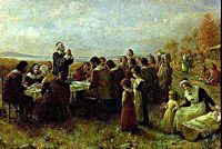 Painting of the Pilgrims first Thanksgiving. Source: Packet Online