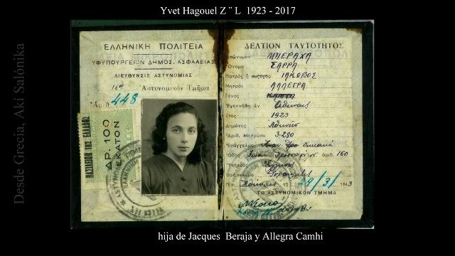 "Yvet Hagouel (Beraha) Z""L (1923 – 2017)"