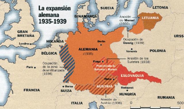 La expansión alemana antes de 1939: Sarre, Renania, Austria, Sudetes