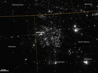 Photo by: NASA Goddard Photo and Video | Northwestern North Dakota is one of the least-densely populated parts of the United States. Cities and people are scarce, but satellite imagery shows the area has been aglow at night in recent years. The reason: the area is home to the Bakken shale formation, a site where oil production is booming.