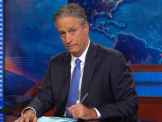 Photo: Screen capture from  Jon Stewart's last show, August 6, 2015