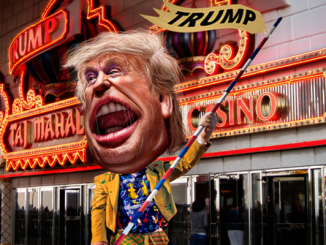 This caricature of Donald Trump was adapted from Creative Commons licensed images from Gage Skidmore's flickr photostream by Donkey Hotey for Flickr https://www.flickr.com/photos/donkeyhotey/ Read more at http://www.commdiginews.com/politics-2/presidential-candidate-or-drum-major-for-the-trump-brand-45036/#utbM5SjGIRPG4Wf4.99
