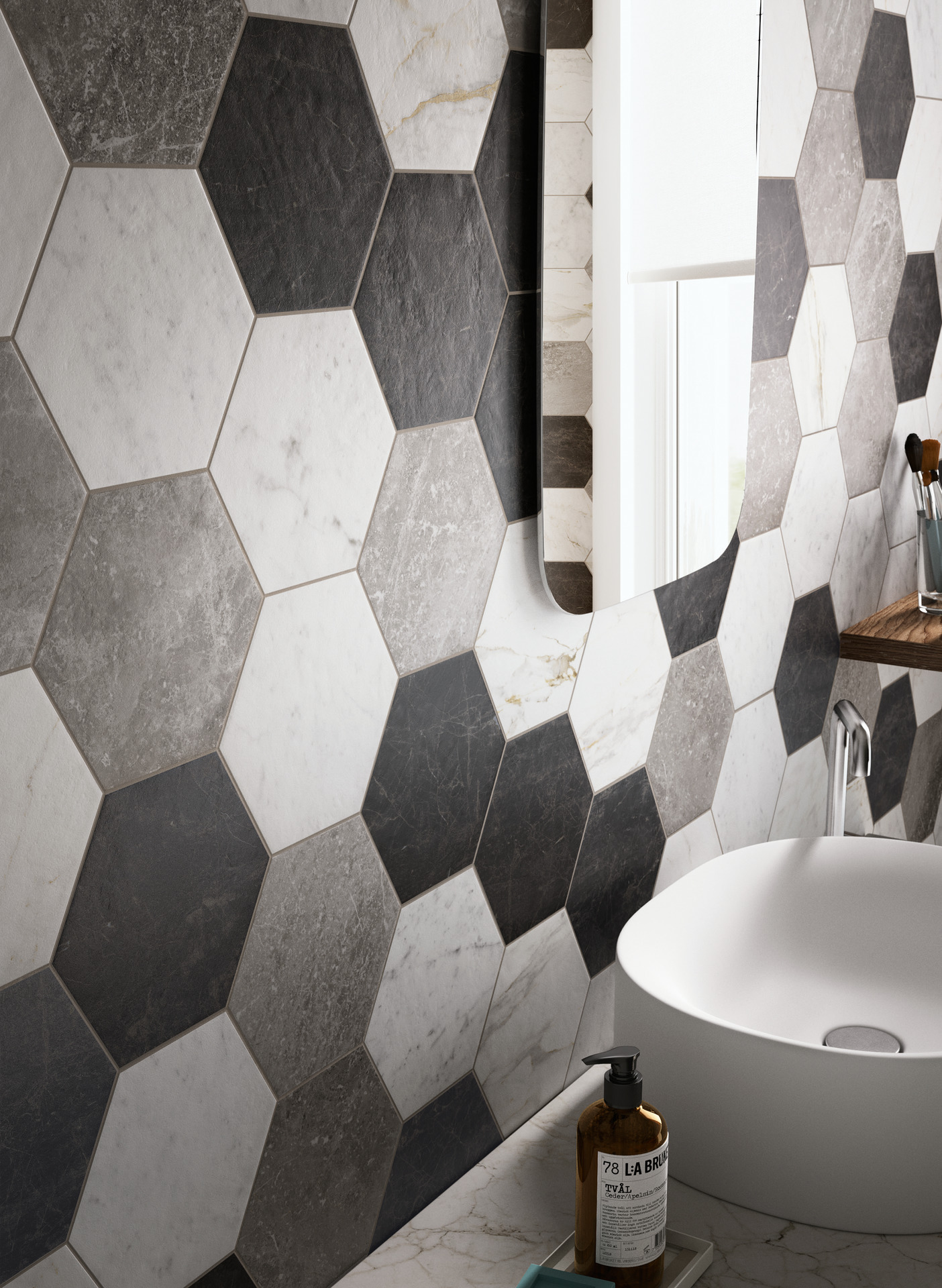 Bathroom flooring in porcelain stoneware ragno