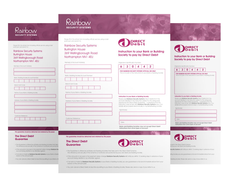 Direct Debit Form - Rainbow Electrical  Security Systems - direct debit form