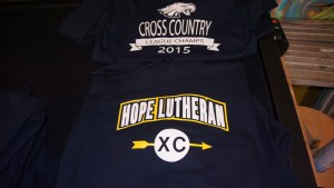 2-color front and 1-color back screen printed hooded sweatshirts for Hope Lutheran School.