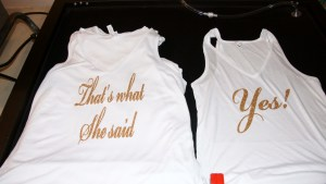 Glitterly, golden bachelorette tanks!
